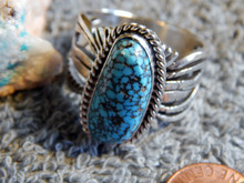 Mens Black Web Turquoise Sterling Silver Ring by Navajo Russel Sam Size 15