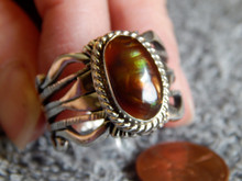 Mens Fire Agate Sterling Silver Ring by Navajo Russel Sam Size 14
