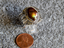 Mens Fire Agate Sterling Silver Ring by Navajo Russel Sam Size 10 1/4