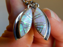 New Sterling Created Opal Inlay Ladies Earrings Navajo Rick Tolino