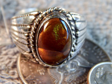 New Small Top Mens Sterling Fire Agate Ring Navajo Lorenzo  James Size 12 1/4