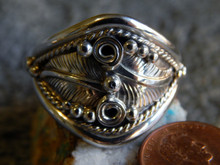 Mens New Solid Sterling Silver Leaf Ring Navajo Ray Yazzie size 15