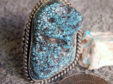 New Mens Huge Spiderweb Turquoise Sterling Ring Navajo Russel Sam Size 15