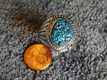 Mens Black Spiderweb Turquoise Sterling Ring Navajo Lorenzo James Size 12 3/4