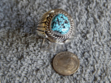 Mens Black Spiderweb Turquoise Sterling Ring Navajo  Lorenzo James Size 13 1/4