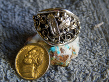 New Mens Sterling Silver Eagle Ring By Navajo Ray Yazzie Size 15