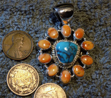 New  Sterling Silver & Bisbee Turquoise spiny oyster Pendant Navajo Russell Sam