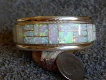 New Sterling Silver Created Opal Zuni Inlay Bracelet by Glendora Boqua