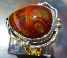 New Sterling Silver and  Fire Agate Gem ring size  6 1/4              D44