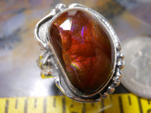 New Sterling Silver and Fire Agate Gem ring size  10 1/2       D49
