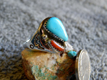 Light Weight Unisex Silver  Turquoise Coral Ring Navajo Mary Lincoln Size 11 3/4