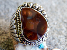 New Mens Sterling Silver Fire Agate Ring By Navajo Lorenzo James Size 14 3/4