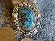 New  Sterling Silver Turquoise Black  Spiderweb Pendant Navajo Lorenzo James