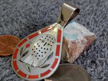 Dennis Nancy Edaakie Sterling  Silver Bird Inlay Pendant Zuni Signed