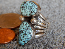 New Mens Black Spiderweb Turquoise Silver Ring Navajo Lorenzo James Size 10 1/2