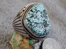 Mens Black Spiderweb Turquoise Sterling Ring Navajo Lorenzo James Size 16