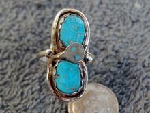 Ladies Sterling Silver Turquoise Snake  Ring Zuni Effie Calavaza Size 7 3/4