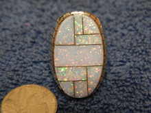 Mens Sterling Silver Created Opal Inlay Ring Navajo Ray Jack Size 13 1/4