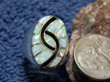 New Mens Sterling Created Opal Hummingbird Inlay Ring Amy Quandelacy Size 10 1/4