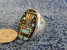 Mens Sterling Silver Turquoise Jet Inlay Ring Navajo Gilbert Smith Size 8 3/4