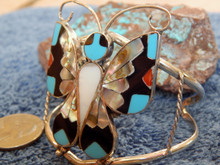 Ladies Sterling Turquoise Coral MOP Inlay Bracelet Zuni Alison Dishta