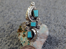 New Ladies Sterling Silver Turquoise Inlay Ring Zuni Amy Locaspin Size 8