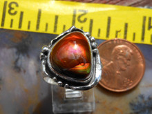 New Sterling Silver and Slaughter Camp Arizona Fire Agate Gem ring size  6 1/2