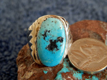 Light Weight Mens Sterling Kingman Turquoise Ring Navajo  Peter Reeder Size 9 1/4