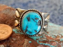 Mens Sterling Silver Navajo  Turquoise Ring Martha  Cayatineto Size 10 1/2