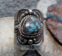 Unisex Sterling Silver Bisbee Turquoise Ring Navajo Lorenzo James Size 10 1/4