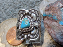 New Unisex Sterling Silver Bisbee Turquoise Ring Navajo Lorenzo James Size 6 3/4