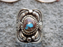 Unisex Sterling Silver Bisbee  Turquoise Ring Navajo Lorenzo James Size 8 1/2