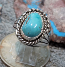 Bisbee Turquoise Sterling Silver Mens Ring By Navajo Lorenzo James Size 13