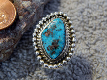 Bisbee Turquoise Sterling Silver Ring By Navajo Lorenzo James Size 5