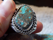 Bisbee Turquoise Sterling Silver Ring by Navajo Russel Sam Size 14 1/2