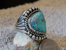 Bisbee Turquoise Sterling Silver Ring by Navajo Russel Sam Size 13 1/2