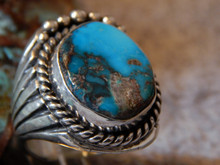 Bisbee Turquoise Sterling Silver Ring by Navajo  Russel Sam Size 10