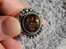 New Mens Sterling Silver  Fire Agate Ring By Navajo Lorenzo James Size 10 1/4