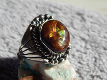 New Mens Sterling Silver  Fire Agate Ring By Navajo Lorenzo James Size 12