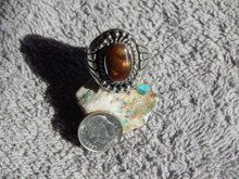 New Mens Sterling Silver  Fire Agate Ring By Navajo Lorenzo James Size 13