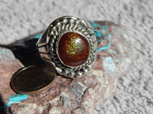 New Mens Sterling Silver Fire Agate  Ring By Navajo Lorenzo James Size 11 1/4