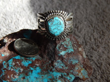 RedWeb Bisbee Turquoise Sterling Unisex Ring Navajo Russell Sam Size 11 3/4