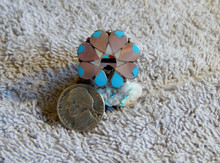 Ladies Sterling Turquoise Coral MOP  Inlay Ring Zuni Alison Dishta Size 7 3/4