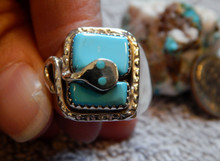 New Mens Silver Sterling Turquoise Snake Ring Zuni Effie Calavaza Size 11 1/4