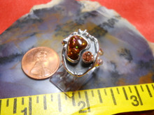 New Sterling Silver Gem Fire Agate & Umba river Sapphire ring size  4 1/8