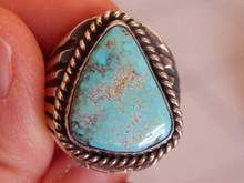 Bisbee Turquoise Sterling Silver Ring by Navajo Russell Sam Size 12 1/4