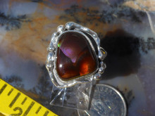 New Sterling Silver and Slaughter Camp AZ Fire Agate Gem ring D70