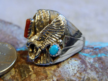 New Mens Sterling Turquoise Coral Eagle Navajo Grace Smith Ring Size 10 1/2