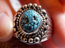 Mens Black Spiderweb Turquoise Sterling Ring Navajo  Lorenzo James Size 12 1/4