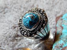 Mens Black Spiderweb Turquoise Sterling Ring Navajo  Lorenzo James Size 11 1/4